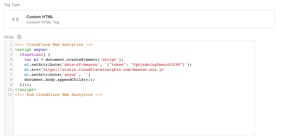 Dynamical javascript to insert Cloudflare Web Analytics with Google Tag Manager
